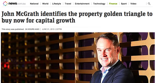 John McGrath identifies the property golden triangle to buy now for capital growth.